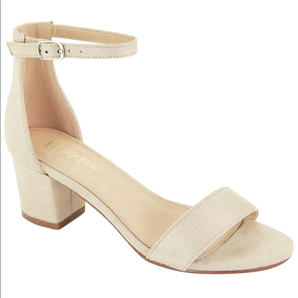 New Nude Tan Beige SINGLE SOLE Strap ankle High Heels FAUX LEATHER Size 11
